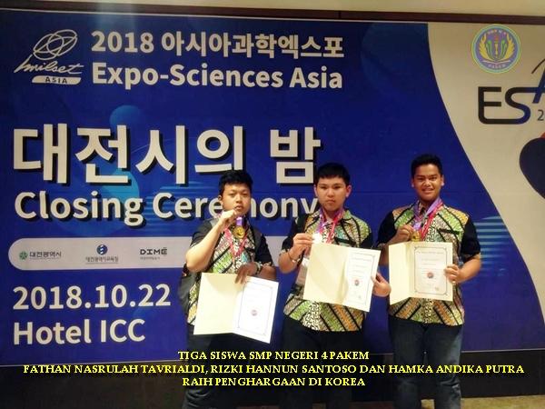 TIGA SISWA SMPN 4 PAKEM RAIH PENGHARGAAN DI KOREA