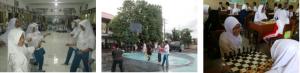 Gb. Kegiatan Ekstrakurikuler pilihan hari Sabtu di Sekolah (tari daerah & kontemporer, basket, & sepak bola, dan catur)
